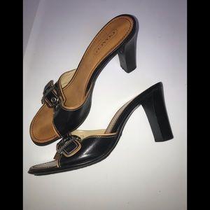 Ladies size 8 COACH slip on heels   Daryn Black